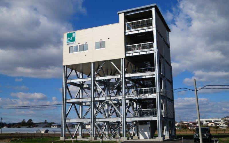 津波からの緊急避難場所となる「津波避難タワー」(青森県八戸市)=同市提供