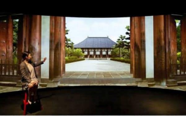 ツアーガイドがVRスタジオで解説する(奈良・唐招提寺ツアーのイメージ)