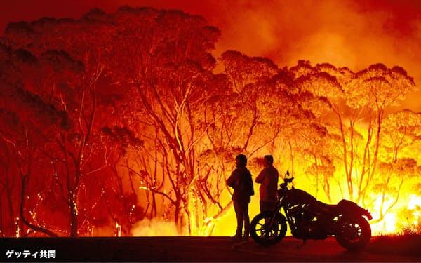 豪州では大規模な森林火災が相次ぎ発生(ニューサウスウェールズ州レイクタブーリー)=ゲッティ共同