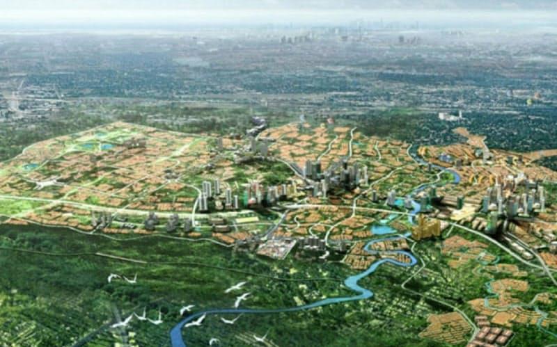 インドネシア・ジャカルタ郊外の100ヘクタールの敷地にスマートシティーを建設する
