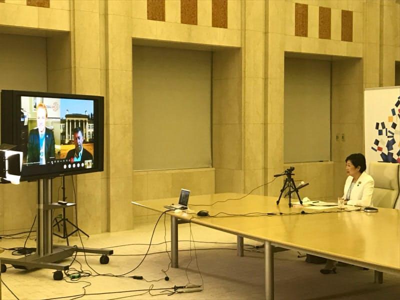 小池知事は英金融街の市長とオンラインで会談した(11日、都庁)