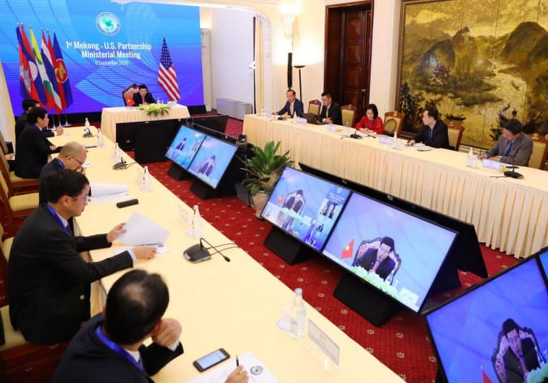 11日、オンラインで閣僚級の「メコン―米国パートナーシップ」会議が開かれた=国営ベトナム通信