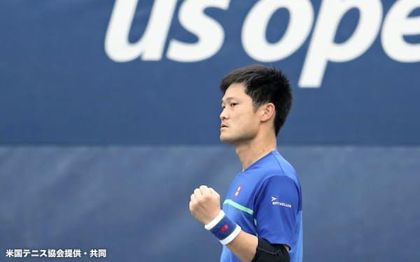 車いすの部男子シングルスで決勝進出を決めた国枝慎吾(11日、ニューヨーク)=米国テニス協会提供・共同