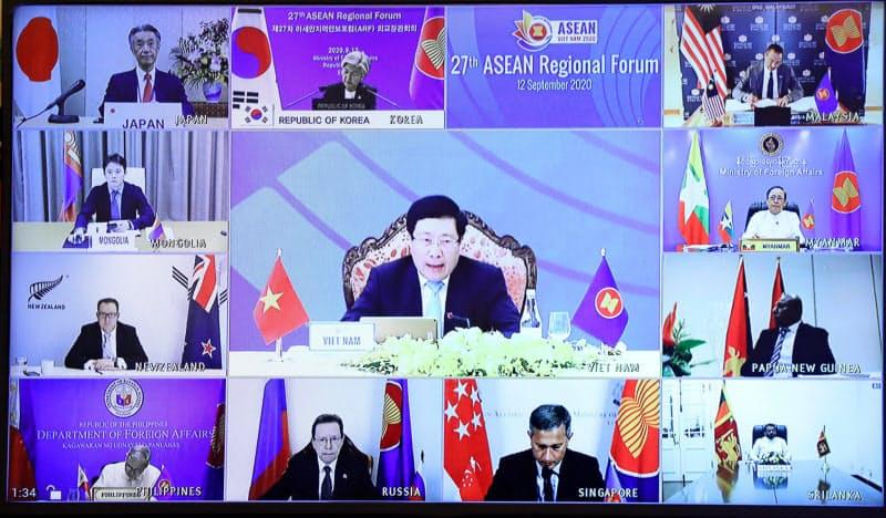 12日、オンラインでのASEAN地域フォーラム(ARF)閣僚会議では米中北朝鮮の外相は不参加だった=国営ベトナム通信