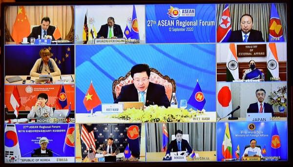 12日、オンラインでのASEAN地域フォーラム(ARF)閣僚会議では米中北朝鮮の外相は不参加だった