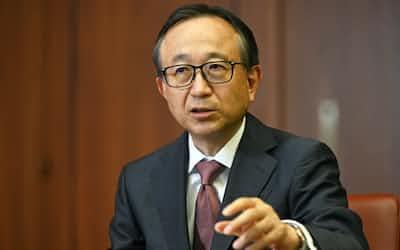 NIKKEI Financialの単独インタビューに応じた三菱UFJフィナンシャル・グループの亀沢宏規社長