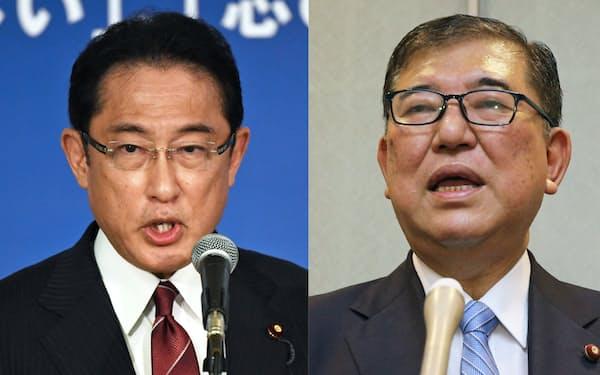 岸田氏(左)と石破氏