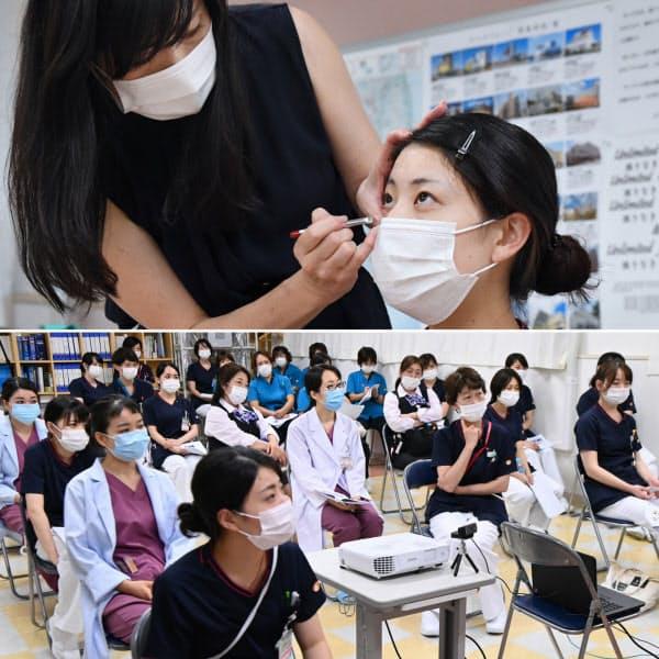 モデルにメークのデモンストレーションをする星さん(写真上左)。病院内で開かれたマスクメークの研修に参加する医療関係者(同下)=埼玉県内