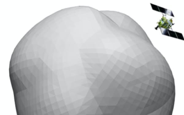 探査機「はやぶさ2」と新たな目的の小惑星「1998KY26」の大きさのイメージ=米オーバーン大学、JAXA提供