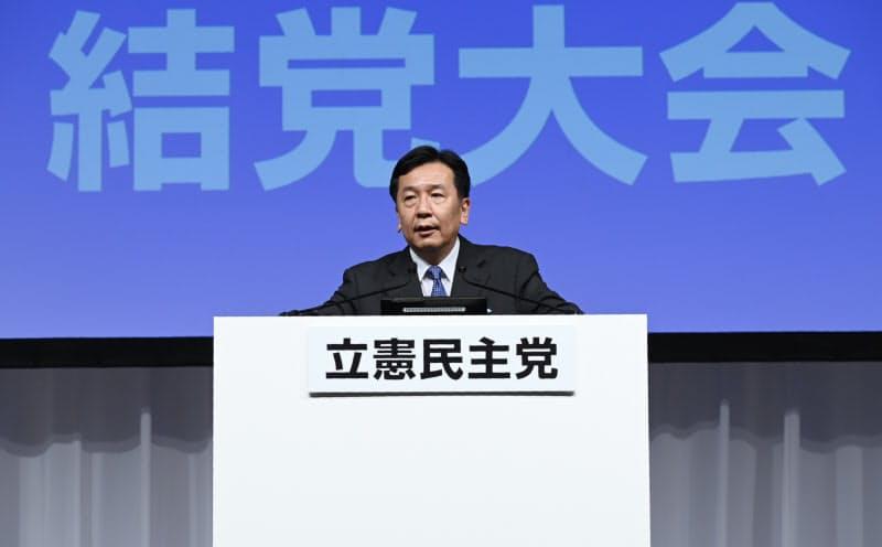 立憲民主党の結党大会を終え、記者会見する枝野代表(15日、東京都港区)