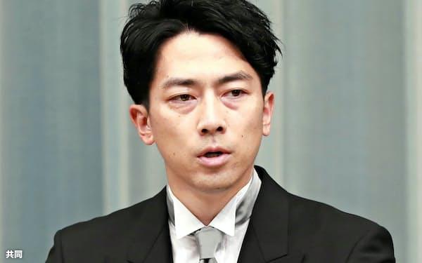 記者会見する小泉進次郎環境相=17日、首相官邸