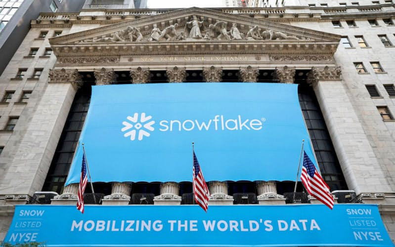 スノーフレイクの時価総額は7兆円に達した(16日、ニューヨーク証取)=ロイター