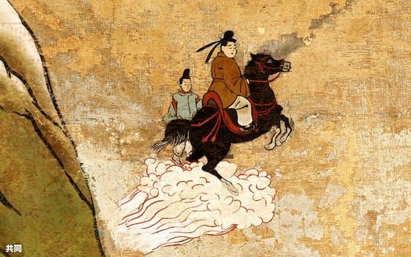 研究員が監修し作画したイラスト「黒駒で空を飛んで富士山へ(太子27歳)」(5Gで文化財 国宝「聖徳太子絵伝」アニメーションより)=共同