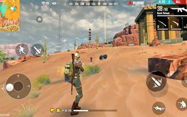 シーが開発したゲーム「フリーファイア」は世界130カ国・地域で配信され、多い日には1億人以上が遊ぶ=シー提供