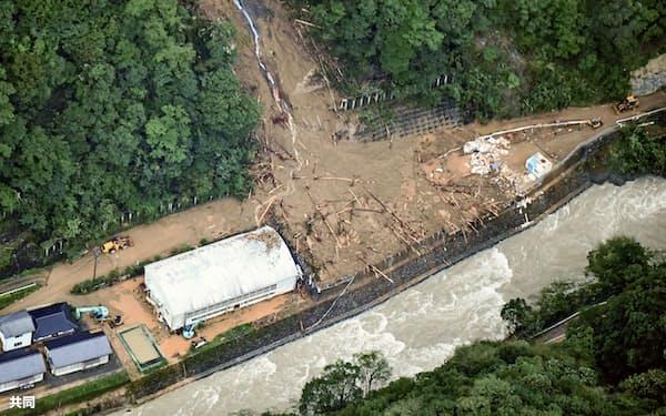 台風10号に伴う土砂崩れで、建設会社「相生組」の事務所兼住宅が流された現場(宮崎県椎葉村)=共同
