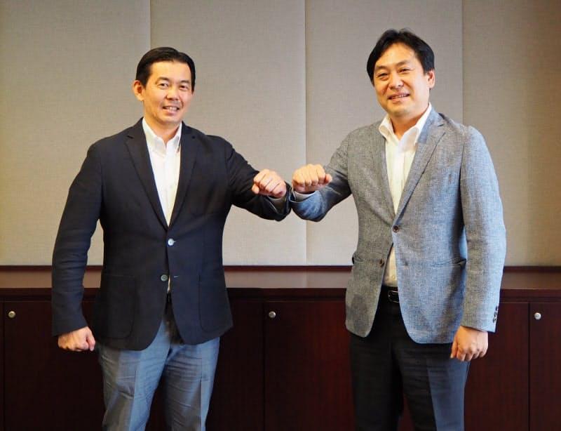 インクリメントPの相木孝仁社長(左)とヒアジャパンの高橋明宏カントリーマネージャー(右)