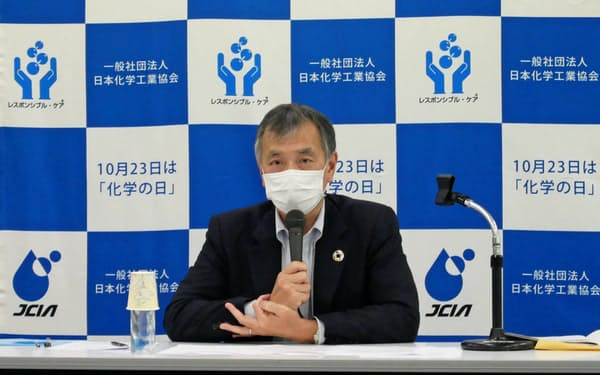 日本化学工業協会の森川宏平会長は、石炭火力の必要性を強調した