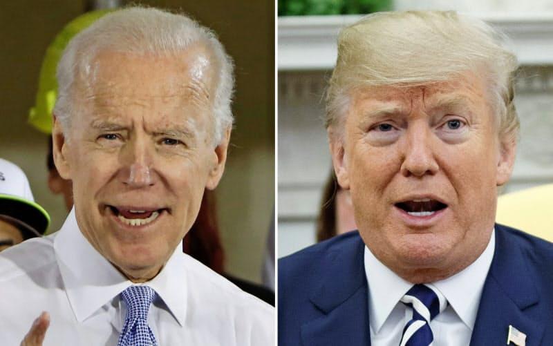 コロナ感染対策と経済回復は米大統領選の焦点になっている(トランプ大統領(右)とバイデン前副大統領)=AP