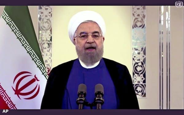 22日、国連向けにテレビ演説するイランのロウハニ大統領=AP