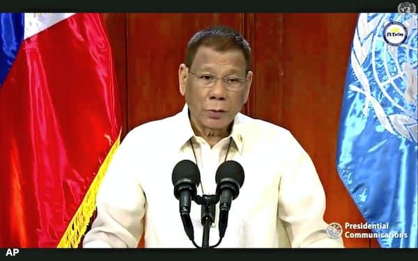 国連総会でビデオ演説するフィリピンのドゥテルテ大統領(22日)=AP