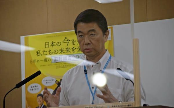 村井知事が年内に再稼働の是非を判断する公算が大きくなった(23日、県庁)