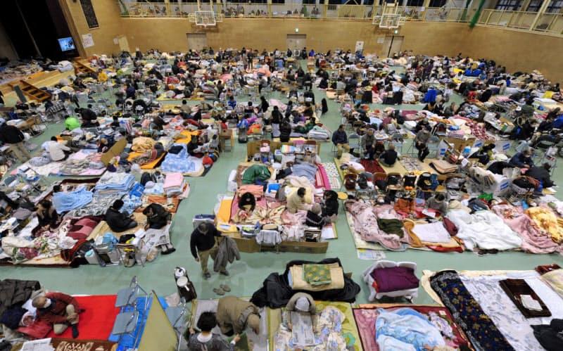 南海トラフ地震では沿岸部住民の事前避難も想定されている(2011年の東日本大震災で設けられた岩手県陸前高田市の避難所)