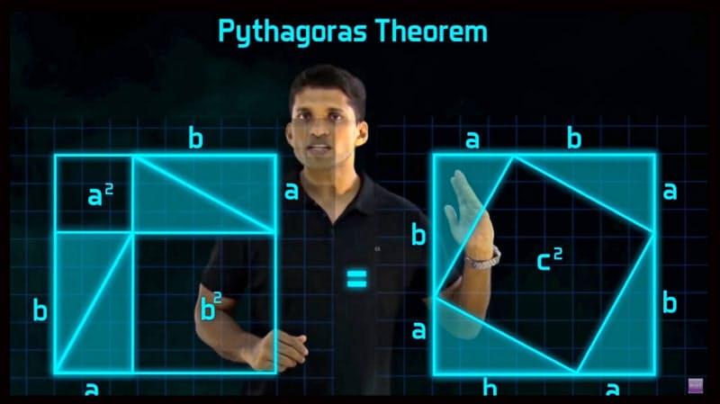 「ピタゴラスの定理」について動画で説明する創業者のラビーンドラン氏