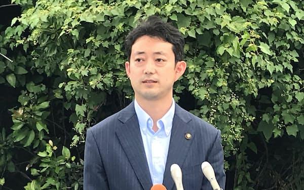 知事選への出馬意欲を示す熊谷俊人氏(19日、千葉市内)