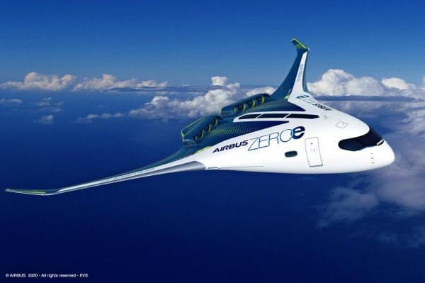 主翼が機体と一体となった全翼型のデザインは、胴体が広く、水素の貯蔵や供給で様々な選択肢を採れる