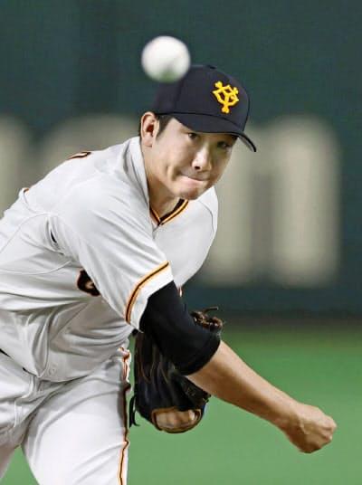 開幕11連勝中の巨人・菅野。直球とスライダーの改善が好調の要因だ=共同