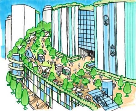 高速道路を緑あふれる遊歩道に作り替える構想だ
