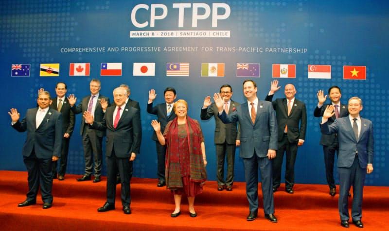 日本とカナダは環太平洋経済連携協定(TPP)で丸太の安定供給で合意したが……(2018年3月チリ・サンティアゴでの閣僚署名式)