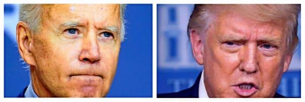 トランプ氏(右)とバイデン氏はコロナ対策や中東政策などで大きな溝がある=ロイター