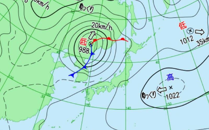 天気図(気象庁HPより引用)