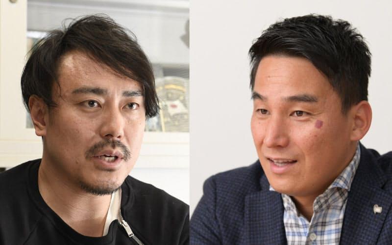オリンピアンの皆川賢太郎さん(左)と松田丈志さん