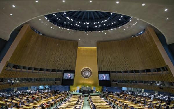 今年は会場への入場を各国1人に制限した(21日、ニューヨークの国連本部)