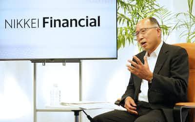 NikkeiFinancialのオンラインセミナーで対談する遠藤俊英・金融庁前長官(25日、東京・大手町)
