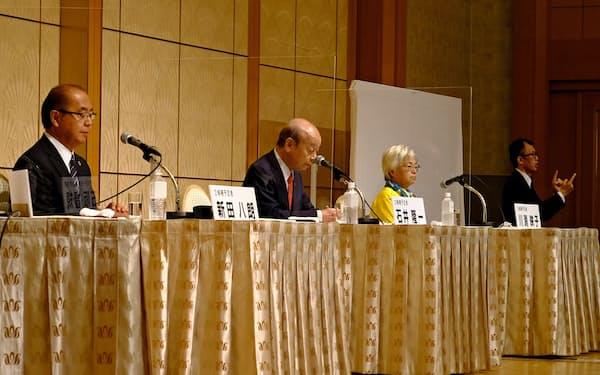 3人の立候補予定者が議論を交わした(左から新田八朗氏、石井隆一氏、川淵映子氏)