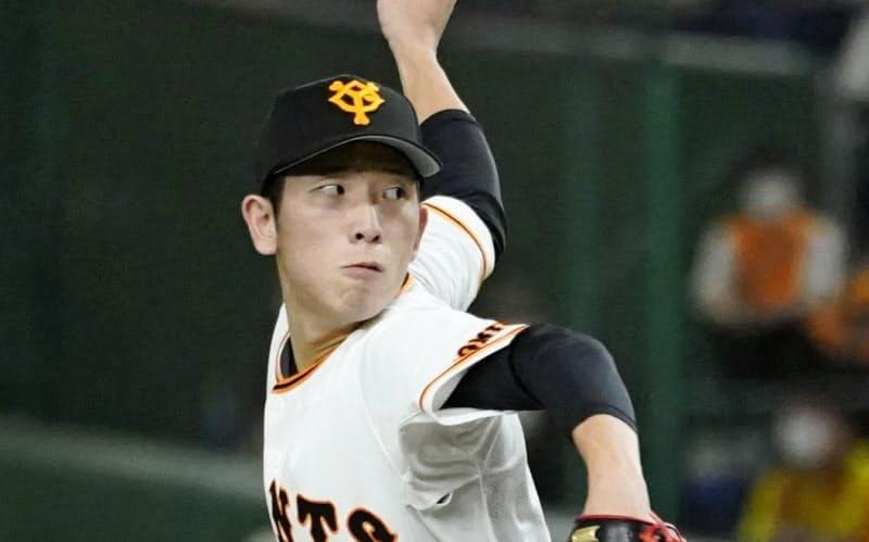 7回無失点で8勝目を挙げた巨人・戸郷(27日、東京ドーム)=共同