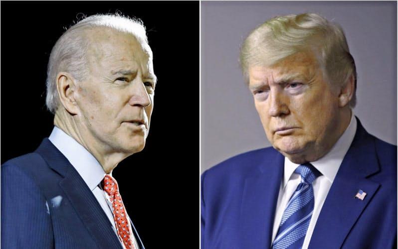トランプ米大統領(右)とバイデン前副大統領は29日のテレビ討論会で初の直接対決に臨む=AP
