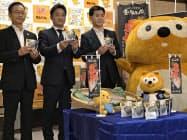 ローソンが発売する愛媛産養殖マダイを使ったおにぎりの試食会(28日、県庁)