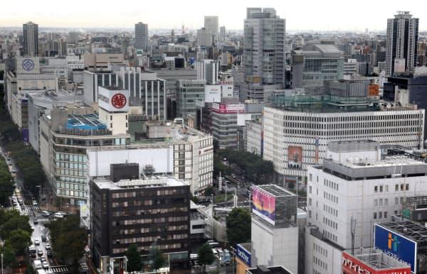 下落率が大きかった名古屋市中心部の栄地区