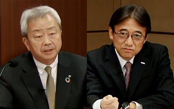 オンラインで記者会見するNTTの澤田社長(写真左)とNTTドコモの吉沢社長(同右)=29日