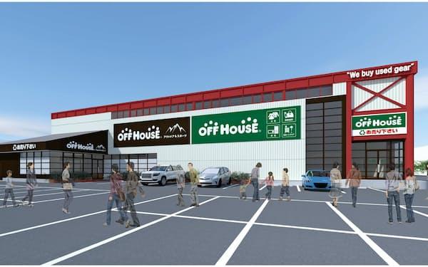 10月16日に開業するアウトドアとスポーツに特化したハードオフの新店舗(外観イメージ)