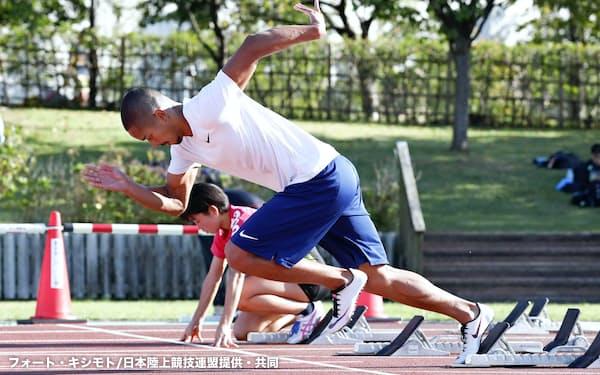 陸上の日本選手権に向け、調整するケンブリッジ飛鳥(30日、新潟市)=フォート・キシモト/日本陸上競技連盟提供・共同