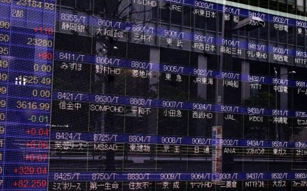 東京証券取引所のシステム障害で値が表示されていない株価ボード(1日午前、東京都中央区)