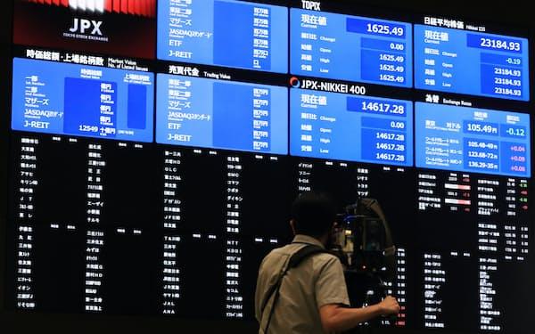 システム障害で値が表示されていない株価ボード(1日午前、東証)