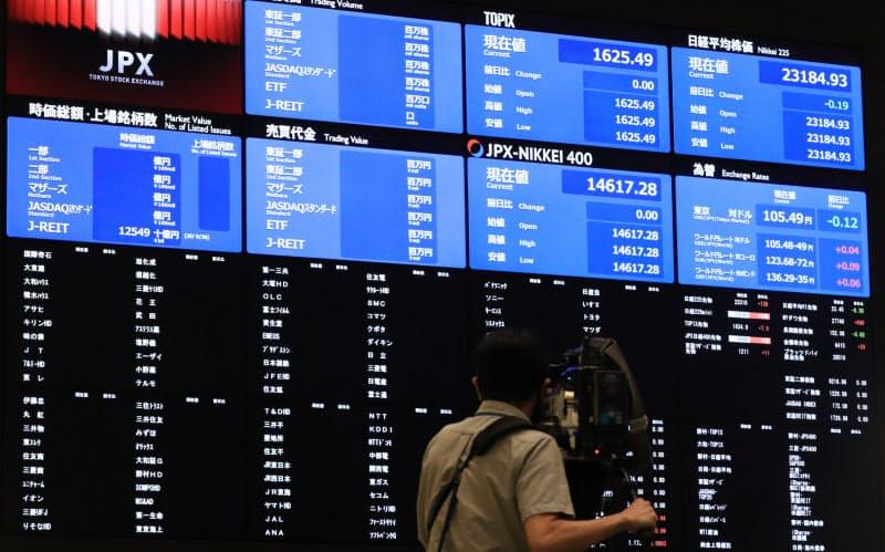 システム障害により取引が停止し、値が表示されていない株価ボード(1日午前、東証)