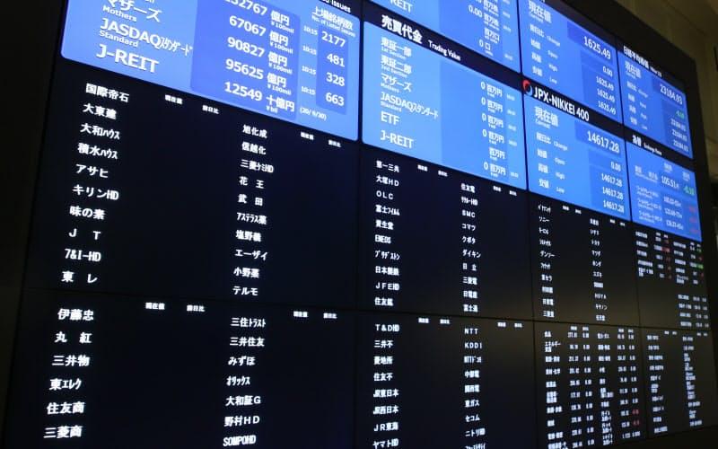 システム障害により、値が表示されていない株価ボード(1日午前、東証)