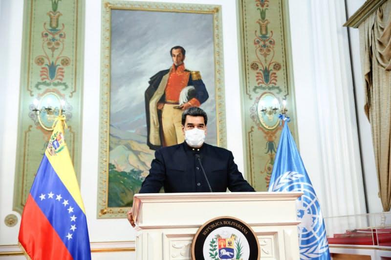 ベネズエラのマドゥロ大統領(9月23日、カラカス)=ロイター
